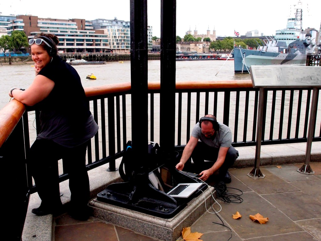 Leah Barclay and Toby Gifford listening to the Thames. Photo by Simon Linke