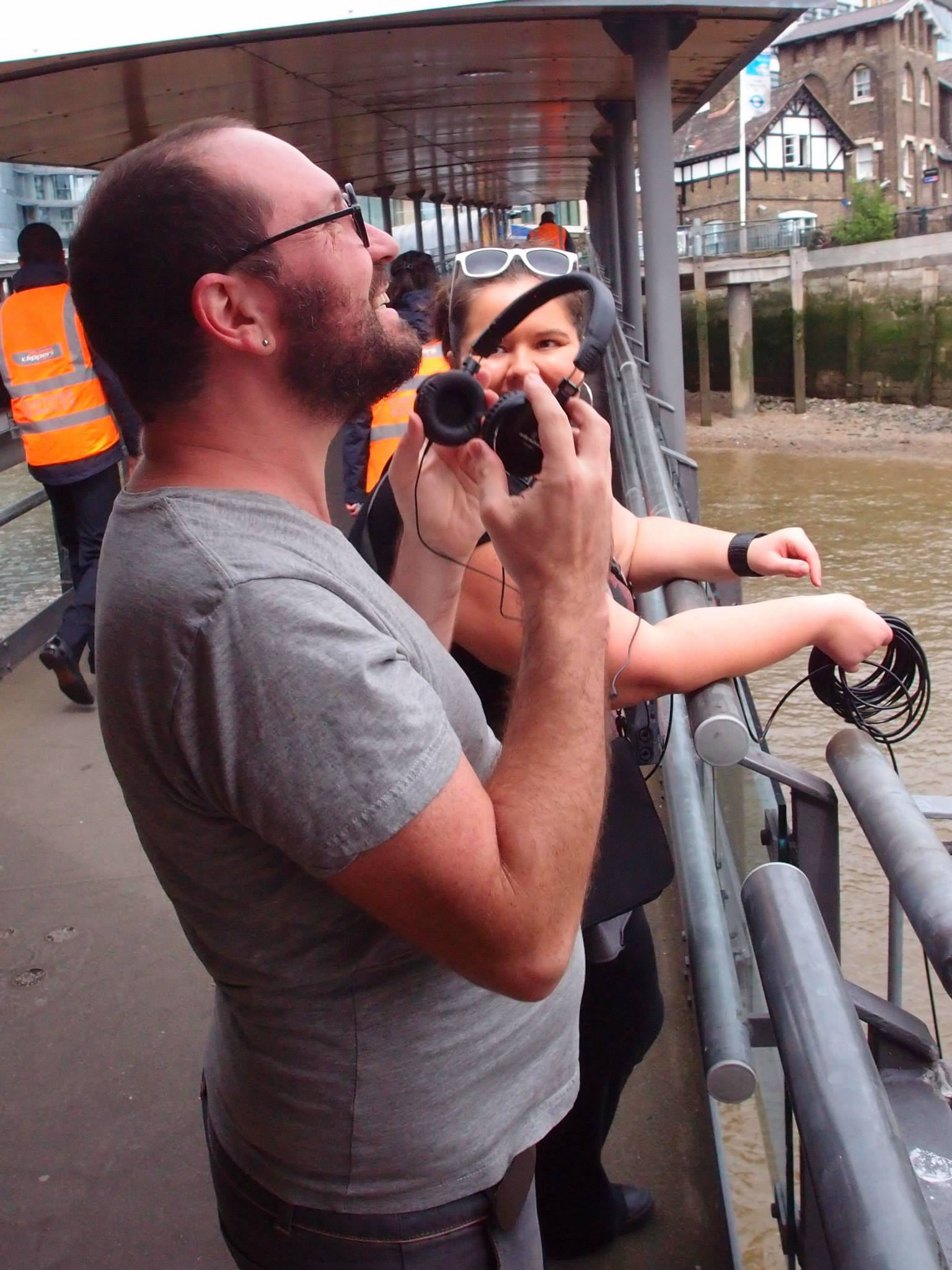 Toby Gifford & Leah Barclay experimenting with hydrophones