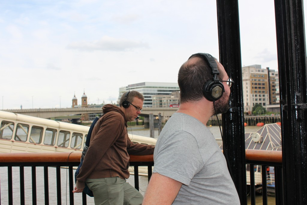 Simon Linke and Toby Gifford listening to the Thames