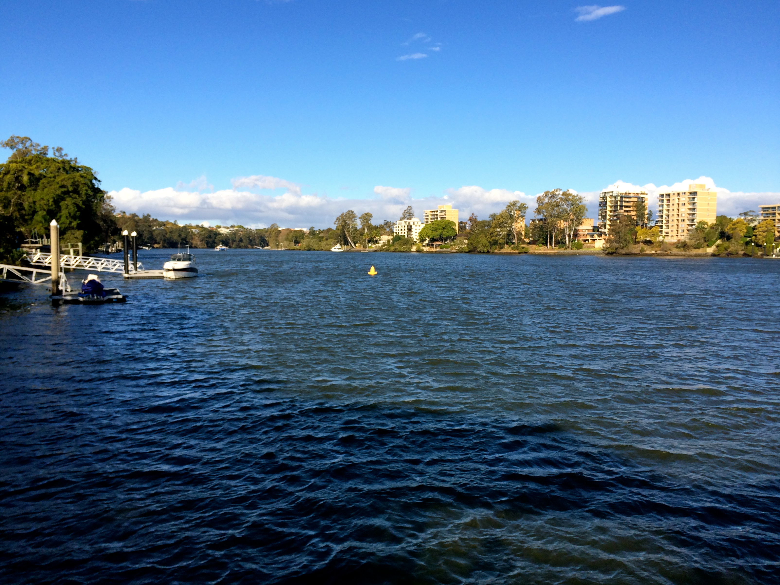 Brisbane River, West End Ferry Wharf, Recorded at 3pm on August 14th 2014.